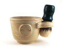 Shaving Mug with a Mustache, Cream Shaving Bowl, Great Gift for Men, Unique Pottery Shave Mug by MiriHardyPottery via Etsy. Shaving Brush, Shaving Soap, Mens Shaving Set, Man Shower, Great Gifts For Men, Beard Balm, Men's Grooming, Mustache, Groomsmen