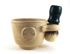 Shaving Mug with a Mustache, Cream Shaving Bowl, Great Gift for Men, Unique Pottery Shave Mug by MiriHardyPottery 38.00, via Etsy.
