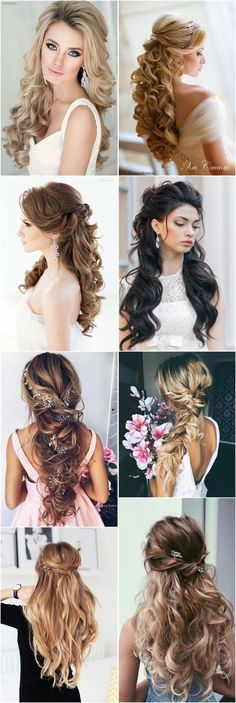18 Creative and Unique Wedding for Long Hair! wedding hairstyles with bangs 18 Creative and Unique Wedding Hairstyles for Long Hair Long Hair Wedding Styles, Elegant Wedding Hair, Wedding Hairstyles For Long Hair, Wedding Hair And Makeup, Braided Hairstyles, Gown Wedding, Lace Wedding, Wedding Cakes, Wedding Rings