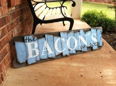 Personalized Family Name Sign on a rustic random wood canvas on Etsy, $60.00