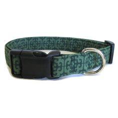 Green Dog Collar Large Dog Collar Dark Green by DogsBestTrend