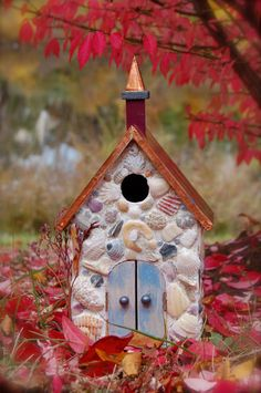 Copper Roofed Shell and Bead Mosaic Birdhouse by incogknito, $85.00