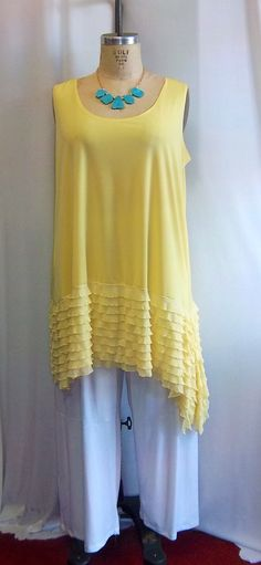 Coco and Juan Lagenlook Plus Size Yellow with Ruffle Asymmetric Tank Top Size 1 Fits 1X,2X Bust  to 51 inches