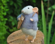 Wool mouse Needle felted mouse Miniature animal Felt mouse White mouse Needle felt mouse Felted mice Waldorf animal toy Cute felt mouse