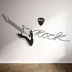 Vinilo decorativo de guitarra de Rock con texto incluído. Masquevinilo.com