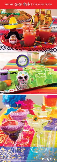 """Throwing a Cinco de Mayo fiesta? Keep guests hydrated by serving a variety of cocktails from spicy to sweet! 1. After preparing your drink of choice, serve in a margarita glass, cup or shot glass. 2. Accent rim with chili powder, sugar or salt and garnish with fruit. 3. Add a festive touch with cocktail stirrers, rock candy, etc. 4. Set out cocktails and beverage napkins on a serving tray. Guests will be saying """"Salud"""" and asking for another round!"""