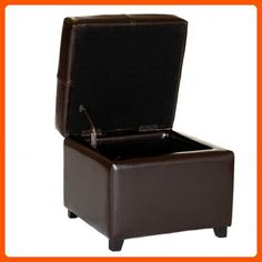 Baxton Studio Leather Storage Ottoman, Dark Brown - Improve your home (*Amazon Partner-Link)