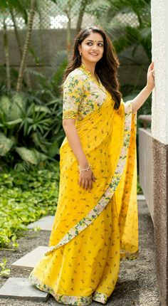 Yellow Bollywood New High Selling Georgeous Georgette Printed SareeBlue Pepar Silk Designer Saree With BlouseTap my dick - Keerthy Suresh -Vastrangam An Online Women's Ethnic & Western Clothing Store Chiffon Saree, Saree Dress, Lace Saree, Beautiful Saree, Beautiful Indian Actress, Indian Dresses, Indian Outfits, Sari Bluse, Indische Sarees