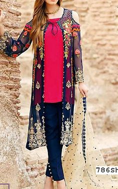 Navy Blue/Hot Pink Chiffon Suit. | Buy Iznik Dresses