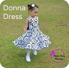 Donna Dress for Girls 12M-8Y  PDF Pattern & Instruction-crisscross front-low back-circle skirt-big bow