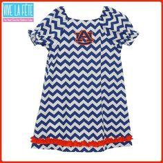 Auburn Tigers Embroidered Chevron Dress by Vive La Fete!