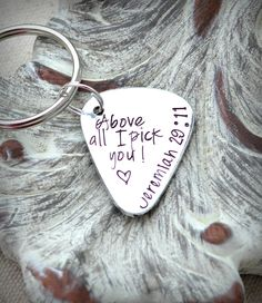 Valentine's day gift ideas - Personalized keychain Hand stamped custom copper or aluminum guitar pick stamped with your personal message. Pewter Guitar charm is optional on a sturdy stainless steel key-ring.The pick measures 1