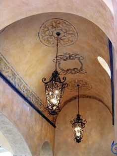 Wrought iron chandeliers and pendants. Mediterranean style lighting Gothic iron lighting Spanish style lighting Tuscan style lighting and Mexican Ceiling Detail, Ceiling Design, Wall Design, Roof Design, Tuscan Style, Mediterranean Style, Mediterranean Chandeliers, Style Hacienda, Hacienda Homes
