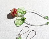 Lampwork necklace and earrings set, petal beads in red, white & green, leaves and crystals