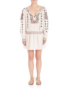 Calypso St Barth Cantoral Embroidered Silk Drop-waist Dress In Candle White Casual Dresses For Women, Clothes For Women, White Boho Dress, White Embroidered Dress, White Candles, Drop Waist, Day Dresses, White White, Bohemian