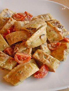 Maultaschen in Käse-Sahnesoße