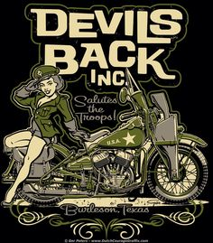 T-shirt artwork for Devils Back Inc., Burleson, Texas. #Harley #Davidson #WLA #pinup #girl #tshirt #logo #artwork