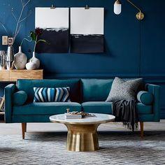 Teal Living Rooms, Elegant Living Room, Blue Rooms, Living Room Furniture, Living Room Designs, Modern Living, Modern Sofa, Blue Walls, Dark Walls