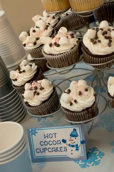 Hot Cocoa Cup Cakes for a Boy's Winter Wonderland Birthday Party Cupcake Ideas December Birthday Parties, First Birthday Winter, Boys First Birthday Party Ideas, Winter Wonderland Birthday, 1st Boy Birthday, Boy Birthday Parties, Birthday Banners, Birthday Cakes, Birthday Invitations
