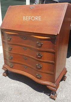 Secretary Desk Makeover w/ Duck Egg Blue and 3 Colored Waxes (Chalk Paint® by Annie Sloan)