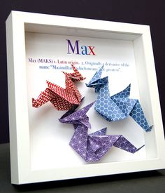 Personalized Name and Origin Baby Gift Paper Origami Dragon Shadowbox Frame Custom Newborn Baby Shower Nursery Decor Gift Origami Gifts, Art Origami, Origami Ideas, Baby Shower Gifts, Baby Gifts, Name Frame, Origami Dragon, Christmas Origami, First Anniversary Gifts