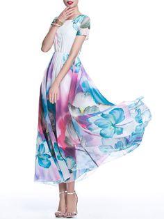 White Boho Chiffon Floral Maxi Dress