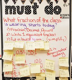 Post a fraction question of the day on the whiteboard for students to quickly answer as bell work