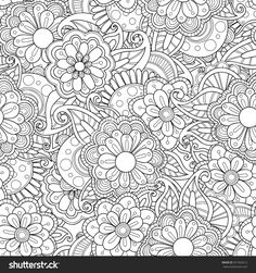 Floral Hand-Drawn Seamless Pattern. Doodle Vector Background. - 351965612…