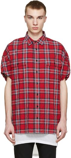 d24a3eed08 R13 - Red Check Cut Off Shirt Oversized Flannel