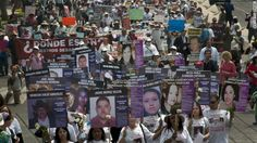 Mexican Mother's Day march spotlights search for missing. Hundreds from different states in Mexico march in Mexico City against forced disappearance Thursday. Mothers and others march with pictures of their missing sons and daughters.