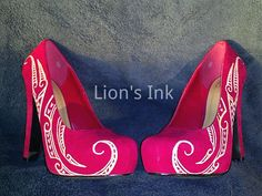 Red Heels with Gold Polynesian Designs Size 6 by LiONSiNK on Etsy, $80.00 - Diggin' it!!