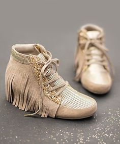 $49.99 marked down from $72! Gold Felicity Wedge Sneaker - Toddler & Girls #gold #boho #Fashion #fringe #zulily! #zulilyfinds
