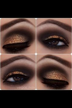 Black and gold smoky eyes #eyes #eye #makeup