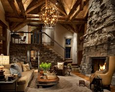 Love the stone and high wood rafters, cozy cabin retreat...what a great cabin!