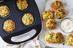 We& made family favourite zucchini and haloumi fritters even easier by cooking them in a Kmart pie maker. They're perfect for dinner or packed in the lunch box. Quick Lunch Recipes, Quick Healthy Lunch, Healthy Lunches, Healthy Recipes, Detox Recipes, Mini Pie Recipes, Vegetarian Recipes, Healthy Food, Veggie Recipes