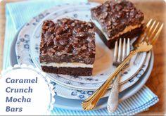 "Rice Krispie Treat + Fudge Brownie = ""Caramel Crunch Mocha Bars"""