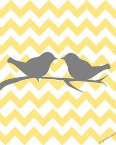 Two love birds on chevron   yellow and gray  by curryonthecouch, €11.00