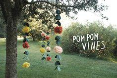 DIY+Wedding+Pom+Pom+Vines