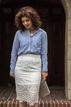 Add lace to the classic banker stripes button-down for a unique work appropriate outfit. See how well the blue and white stripes pair with a lace skirt. Colorful Fashion, New Fashion, Banker Stripes, Lace Skirt, Sequin Skirt, Silver Pumps, Professional Attire, Pattern Mixing, Style Blog