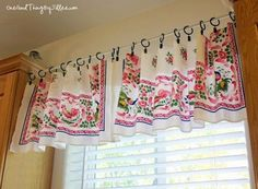 The Easiest DIY Window Valance Ever is the simplest, prettiest way to give your living space a new look. You won't believe how easy these no sew curtains are to make. Shabby Chic Kitchen Curtains, Kitchen Curtains And Valances, No Sew Curtains, Valance Curtains, Tablecloth Curtains, Cottage Curtains, Curtain Patterns, Curtain Ideas, Valance Ideas