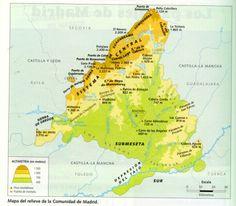 Mapa Físico Sierras y Cordilleras Comunidad de Madrid
