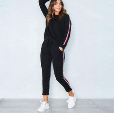 737100c3902 2018 2pcs Women set suits Long Sleeve Tracksuit Hoodies+Long Pants winter  sports suit Jogging