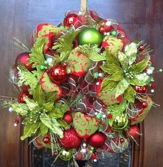 Bright Green Poinsetta Christmas Wreath by HertasWreaths on Etsy, $145.00