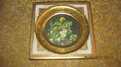 Vtg Gold Gilt Tole Florentine Italian Wood Framed Botanical Flowers Print Fancy Victorian Look Picture Frame,  Made Italy by…