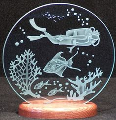 Carved Glass Diver and Reef on 9 in. Circle by braithwaitestudios