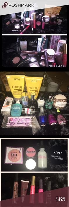 Mega makeup and nail care bundle 💅🏻💄 Some lightly used & some new, this makeup bundle has a little bit of everything. Included are: tarts lipsurgence, mini ulta finishing powder, mini Anastasia clear brow gel, mini too faced shadow insurance, nail art stick package, packet of unused toe separators, OPI massage scrub and lotion (scrub full, lotion 1/2 full), NIB sally Hansen nail sticker kit, sally Hansen hard as nails, top coat, and gel polish, OPI polish, blushes from NYX and covergirl…