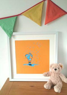 Rainy Day Bright Art Print Child Umbrella by littlebluegirlco