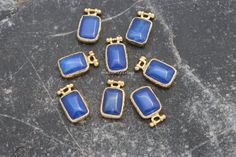 navy blue agate charms gold plated bezels by madameperlina on Etsy