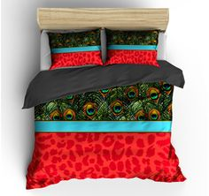 FLASH SALE  Red Cheetah and Peacock Bedding Set Queen by redbeauty