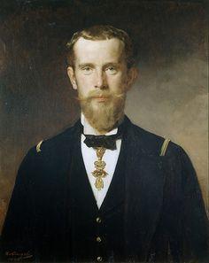 Heinrich von Angeli: Kronprinz Rudolf im Flottenrock mit dem Orden vom Goldenen Vlies, Ölgemälde, 1885